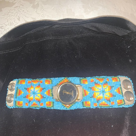 VTG 30's/40's Native Beaded Leather Cuff Watchband